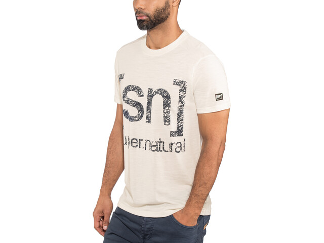 super.natural Graphic T-shirt manches courtes Homme, antique white/sketch logo print